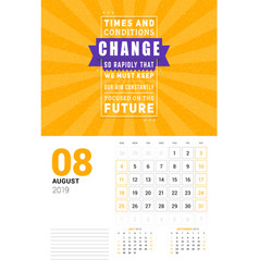 wall calendar template for august 2019 design vector image