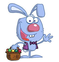 Waving Blue Bunny With Easter Eggs vector image vector image