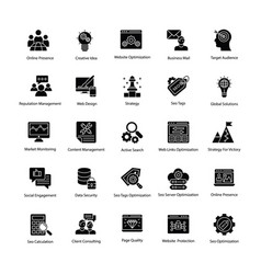 Web and seo glyph icons vector