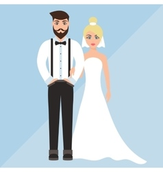 Wedding of a cute boy and girl vector