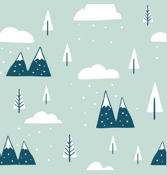 winter seamless landscape pattern vector image