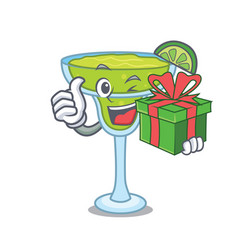 with gift margarita mascot cartoon style vector image