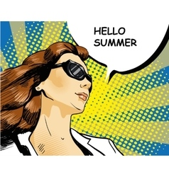 Woman in sunglasses with speech bubble vector image