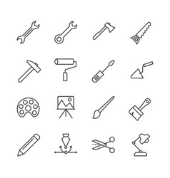 work tools set icon outline handmade tools vector image