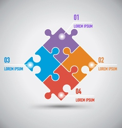 Four Puzzle Infographic Template vector image vector image