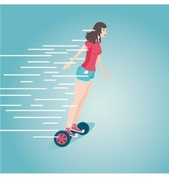 Girl is riding a gyro skooter Flat style cartoon vector image vector image