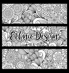 horizontal flyers with ethnic pattern vector image vector image