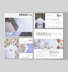 social media posts set business templates easy vector image