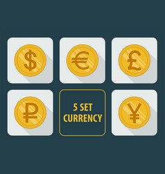 currency set of icons on white background vector image