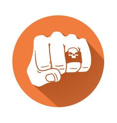fist with skull ring symbol vector image