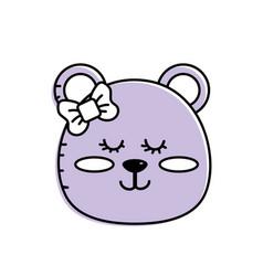 Teddy bear girl head animal wild vector