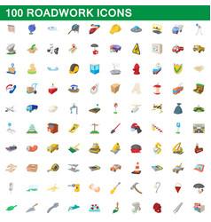 100 roadwork icons set cartoon style vector image vector image