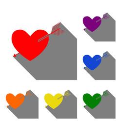 arrow heart sign set of red orange yellow vector image