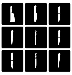 black kitchen knife icon set vector image vector image