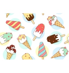 Colorful seamless pattern with ice cream different vector image