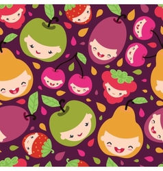 Happy fruit characters seamless pattern vector image
