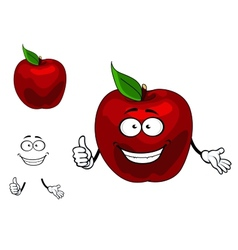 Happy red cartoon apple fruit vector