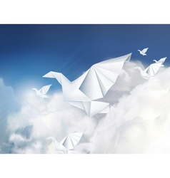 Paper origami doves in the clouds vector image vector image