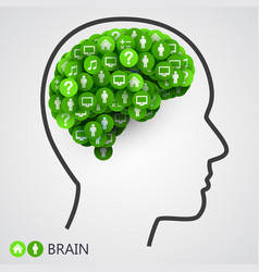 abstract concept of brain circles with thoughts vector image vector image