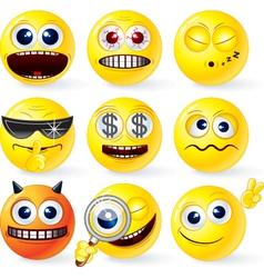 cartoon smilies emoticons set vector image
