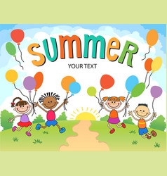 children are jumping ob summer background bunner vector image vector image