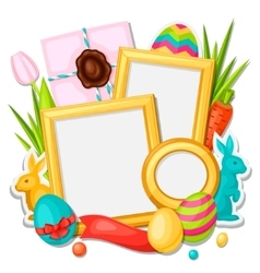 Happy Easter photo frame with decorative objects vector image