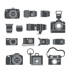 Modern and retro photo technics silhouettes vector image