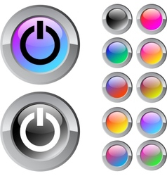 Power multicolor round button vector image vector image