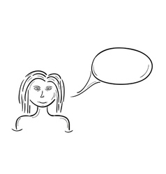 sketch of the girl and speak bubble vector image vector image