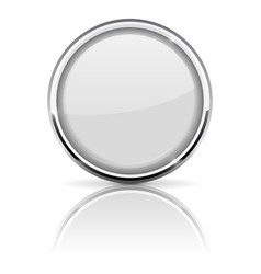 white glass button with chrome frame vector image vector image