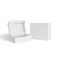 3d open and close blank packaging box vector