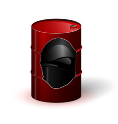 a red metal barrel with oil or other black liquid vector image