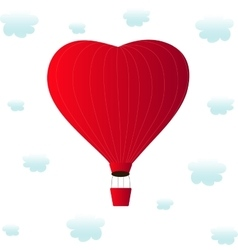 Aerostats heart red flying in the clouds vector
