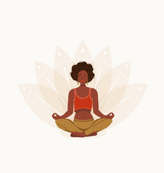 african young woman sitting in yoga lotus pose vector image