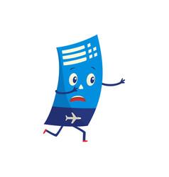air ticket cartoon character anxiously running vector image