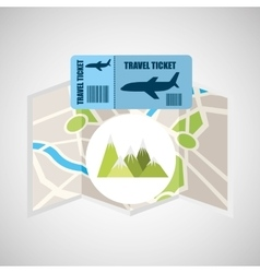 Airline ticket map travel mountains landscape vector
