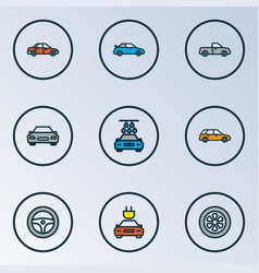 Auto icons colored line set with station wagon vector