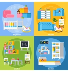 Baby Room Flat 2x2 Design Concept vector