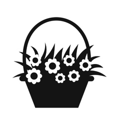 Basket with flowers simple icon vector