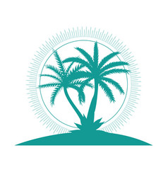 beautiful palm tree icon silhouette background vector image