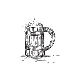 beer icon sketch wooden mug oktoberfest festival vector image