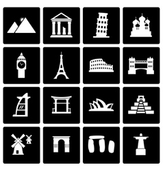black landmarks icon set vector image