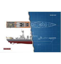 Blueprint military ship top and side view vector