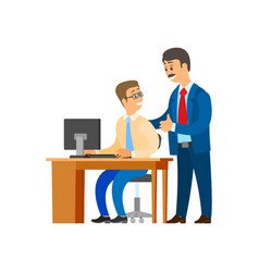 Boss professional leader company and worker vector