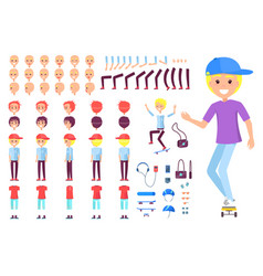 boy in cap on skate with spare body parts set vector image