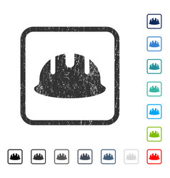 Builder hardhat icon rubber watermark vector