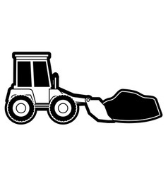 bulldozer with rocks on monochrome silhouette vector image