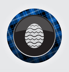 button blue black tartan - easter egg with waves vector image
