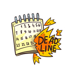 Calendar and deadline word in fire time limit vector