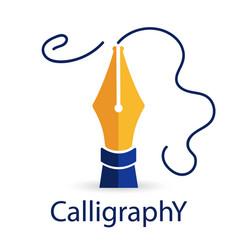 Calligraphy fountain pen gold fountain pen vector